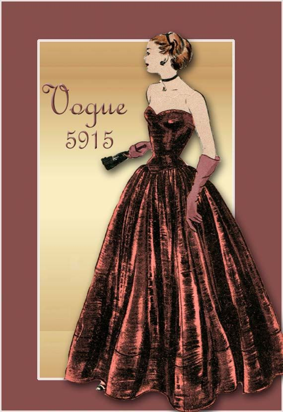 1940s Evening Gown Pattern Vintage Vogue