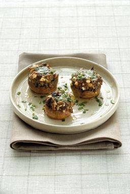 gevulde champignons met lamsgehakt en aubergines