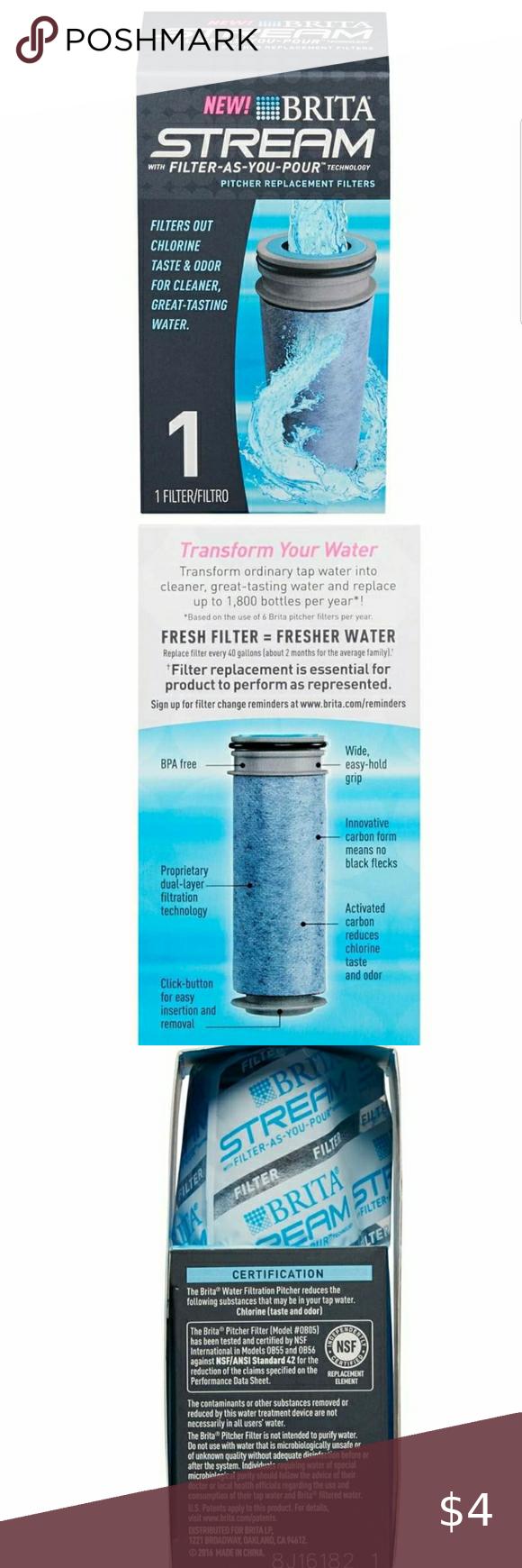 Brita Stream Pitcher Replacement Water Filter BPAfree