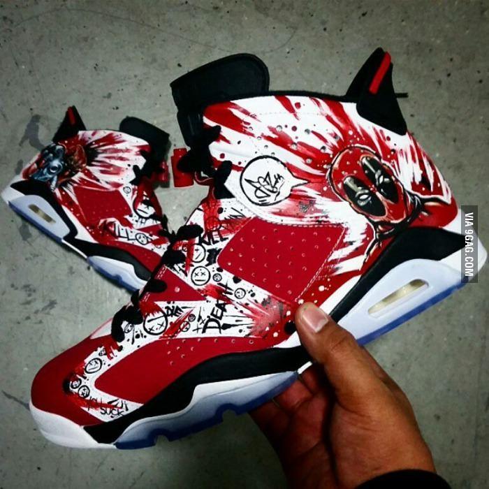 5ecf0cb8a7954a ... Custom Air Jordan  Deadpool Jordan 6 s ...