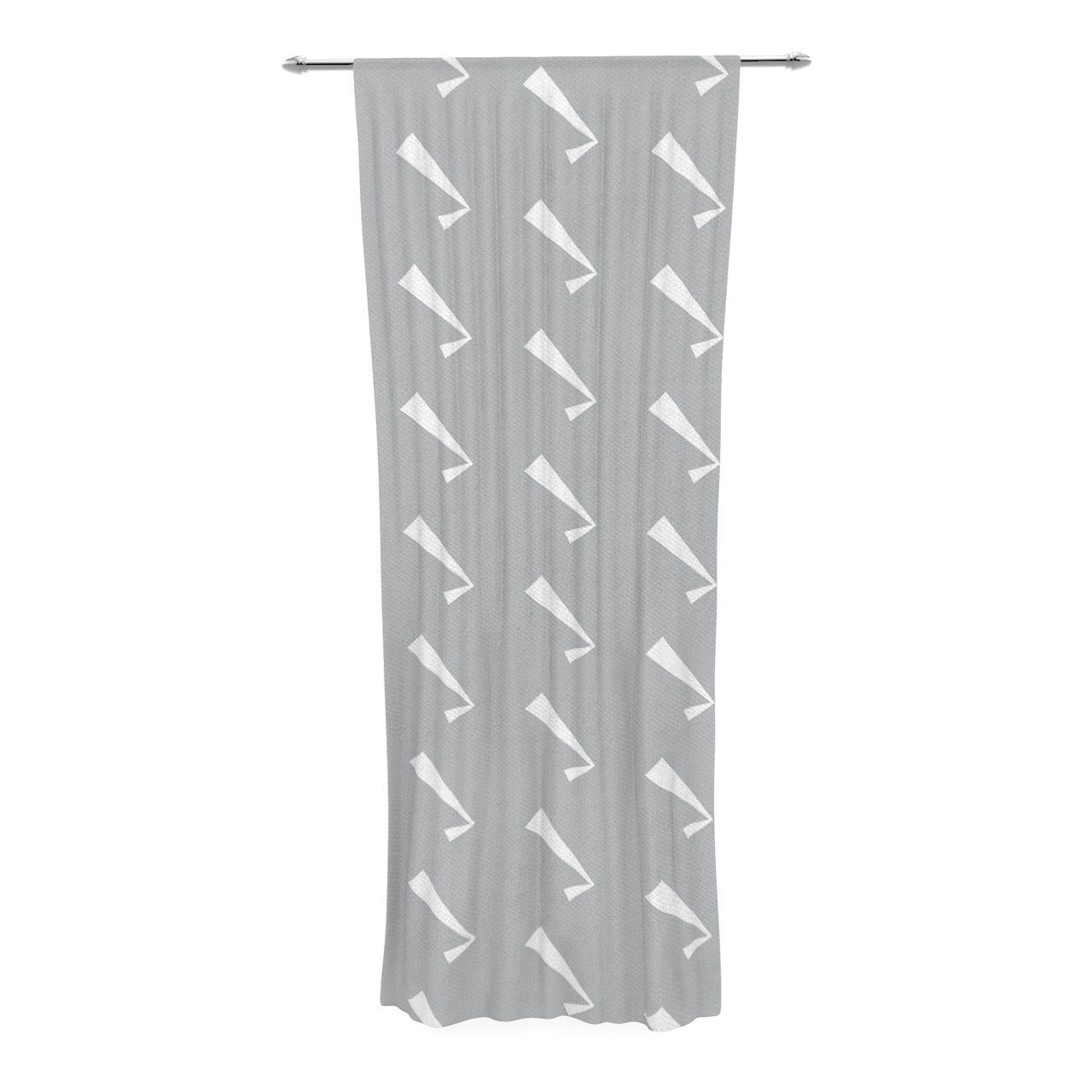 "KESS Original ""Check You Out"" Gray White Decorative Sheer Curtain"
