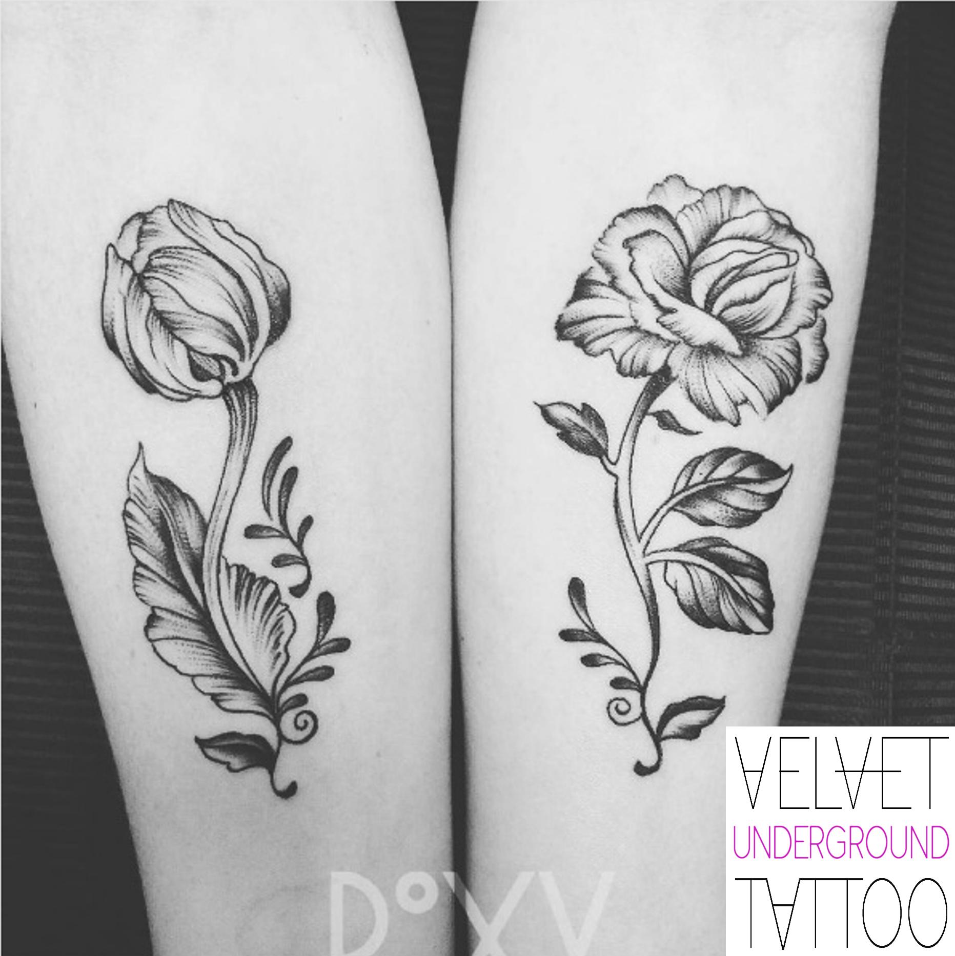 Matching Rose and Tulip Tattoos by Roxy Velvet at Velvet Underground Tattoo