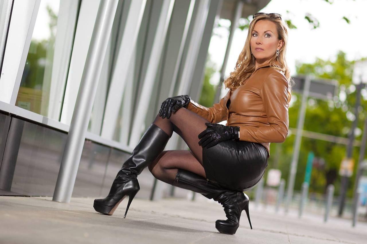 Mature Leather Skirt