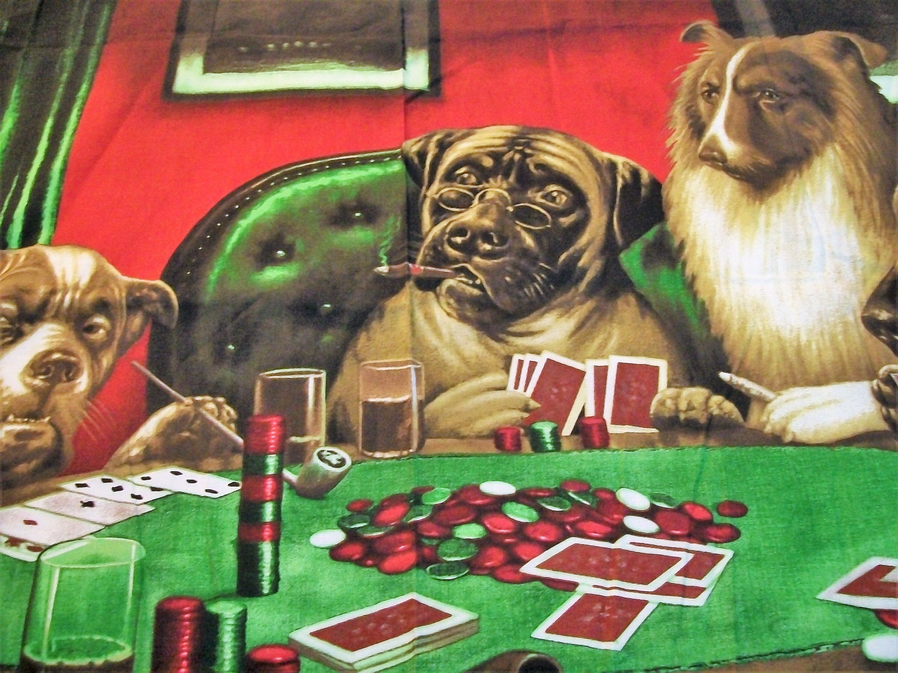Excited To Share This Item From My Etsy Shop Dogs Playing Cards Fabric Panel Dogs Playing Cards Quilt F Fabric Wall Hanging Fabric Wall Vintage Tablecloths