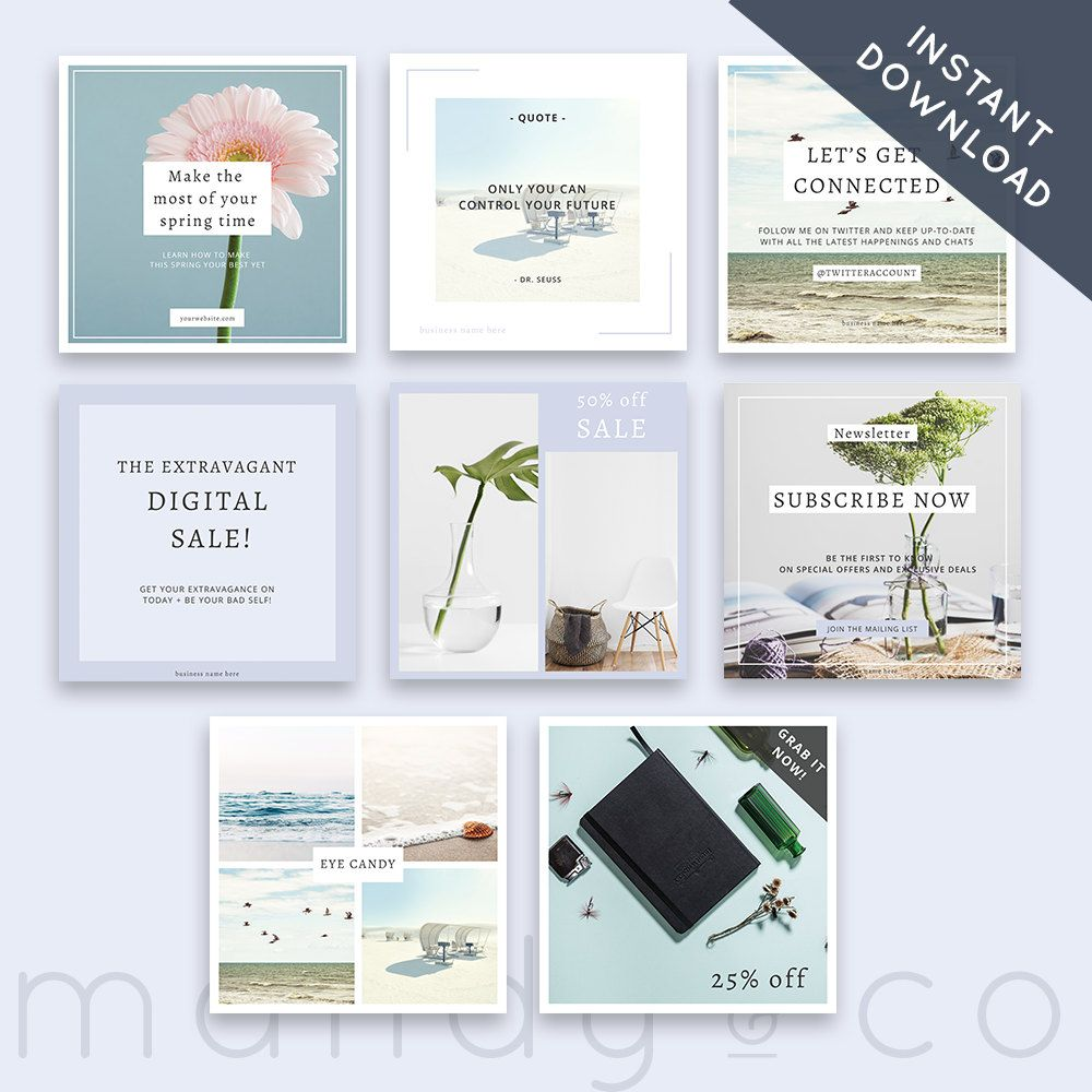 beach style marketing kit simple design instagram template