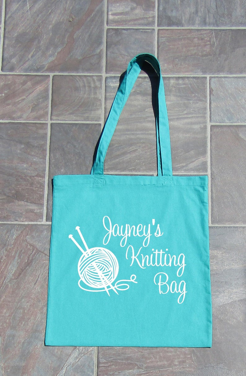 bag for knitting gift for knitting lover decorated with vinyl Cotton tote bag craft lover reusable bag craft bag bag for crafter