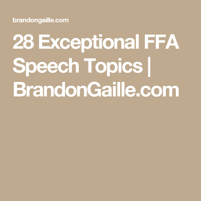 agriculture related speech topics