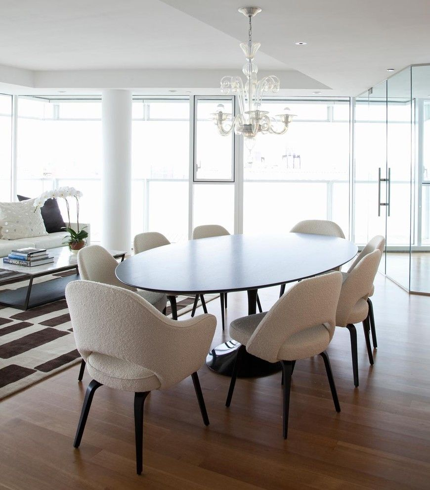 Modern oval dining room table - Find This Pin And More On Mid Century Modern Love Dining Room Contemporary Dining Room With Black Oval Tulip Table