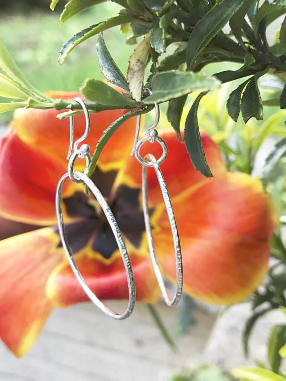 Sterling Silver Hoop Earrings Hand Made Jewellery Circle