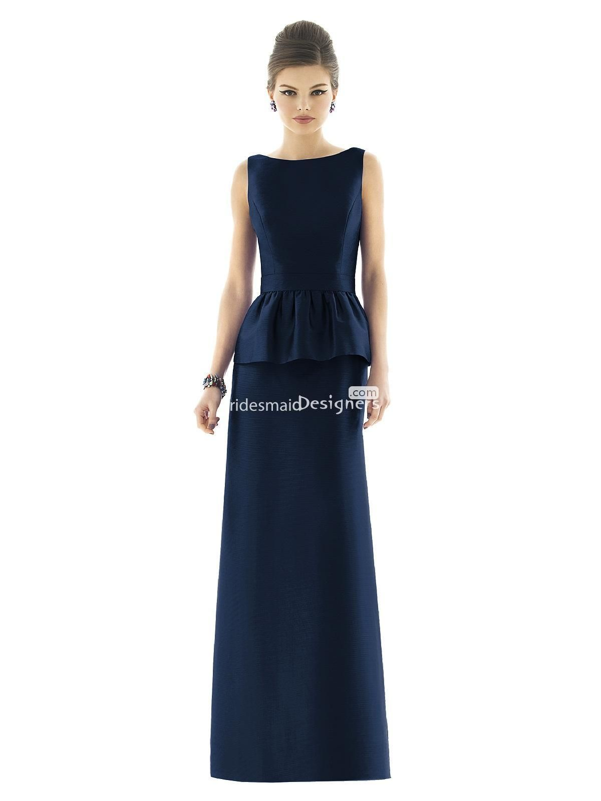 Stylish dark blue sleeveless floor length boat neck sheath peplum stylish dark blue sleeveless floor length boat neck sheath peplum satin bridesmaid dress ombrellifo Gallery