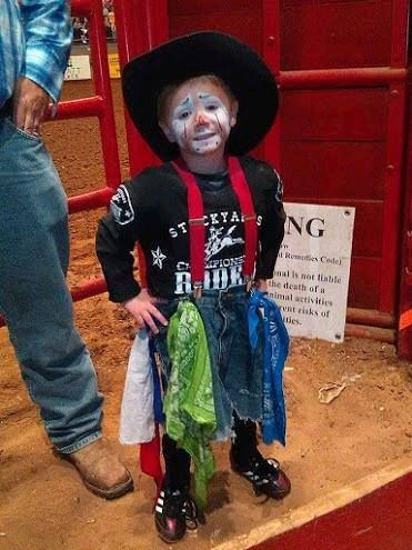 Check out this Brave Bull Fighter! We start 'em young at the Ft Worth Stockyards Rodeo