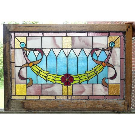 Sharing is caring!  G14078 - Antique Colonial Revival Stained Glass Window #https://www.pinterest.com/munlimited/