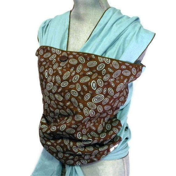 Baby Sling Wrap Carrier Blue Brown Ovals by AGraffDesigns on Etsy, $46.00