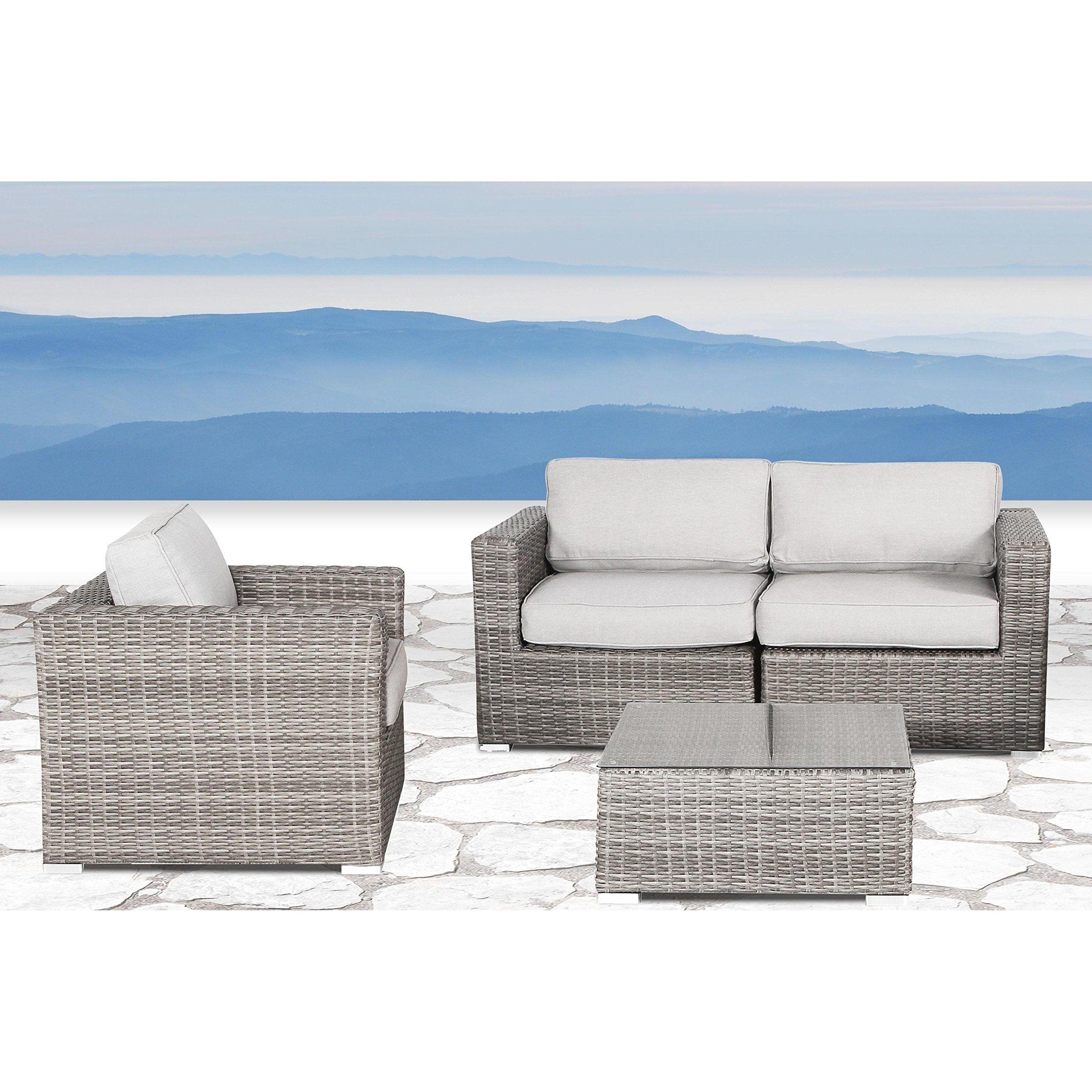 Living Source International Wicker Patio Furniture Sofa Garden