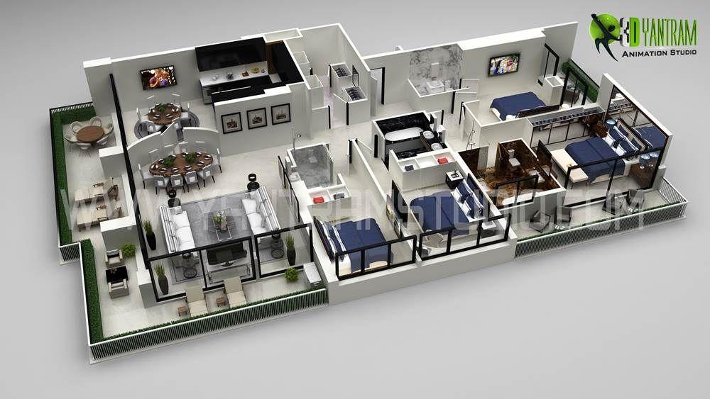 3d Floor Plan Residential Style Projetos De Casas Casas Modelo De Casa