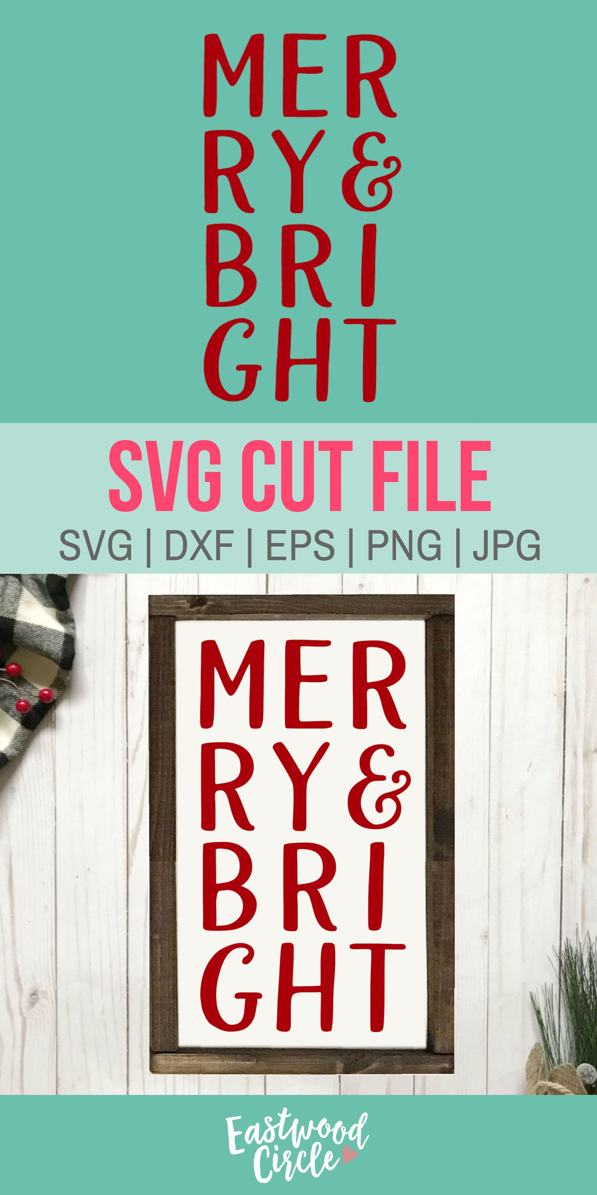 Merry and Bright svg, Christmas svg, Farmhouse svg
