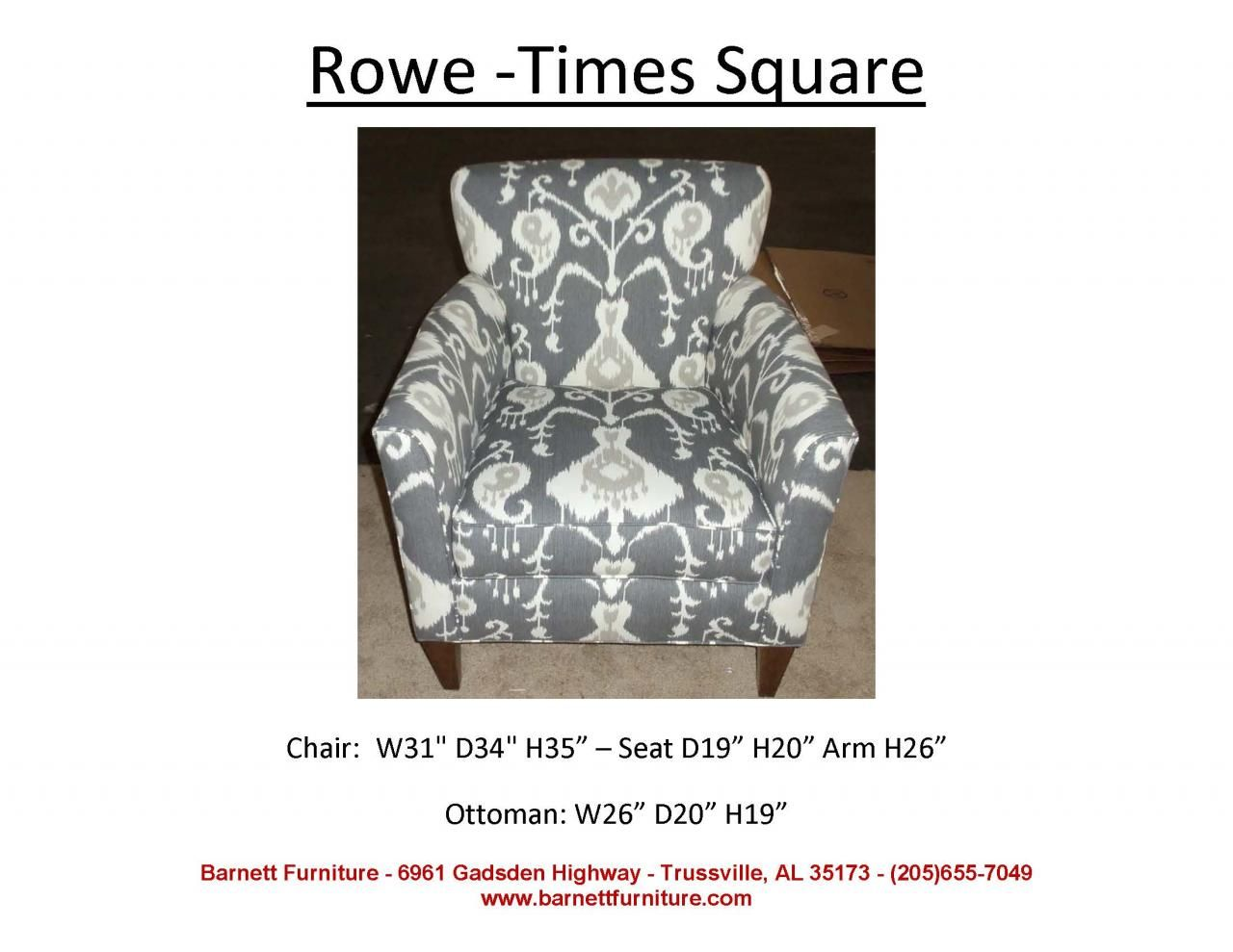 Rowe Times Square Chair. You Choose the Fabric  Chair, Stationary