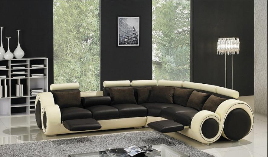 Divani Casa T27C Sectional Sofa in Black & Cream