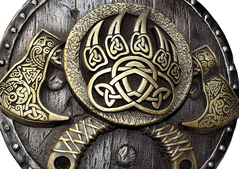 Norse Wall Art Viking Axe On Shield Pagan Decor Bearded Axe Etsy Viking Shield Design Viking Bear Norse
