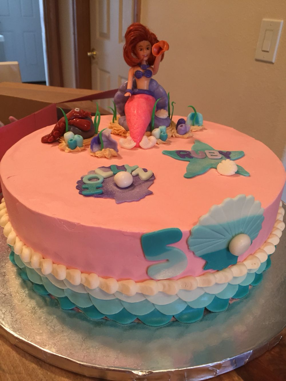 Pleasing Mermaid Birthday Cake For 2 Little Girls Turning 5 Sweetheart Funny Birthday Cards Online Aboleapandamsfinfo