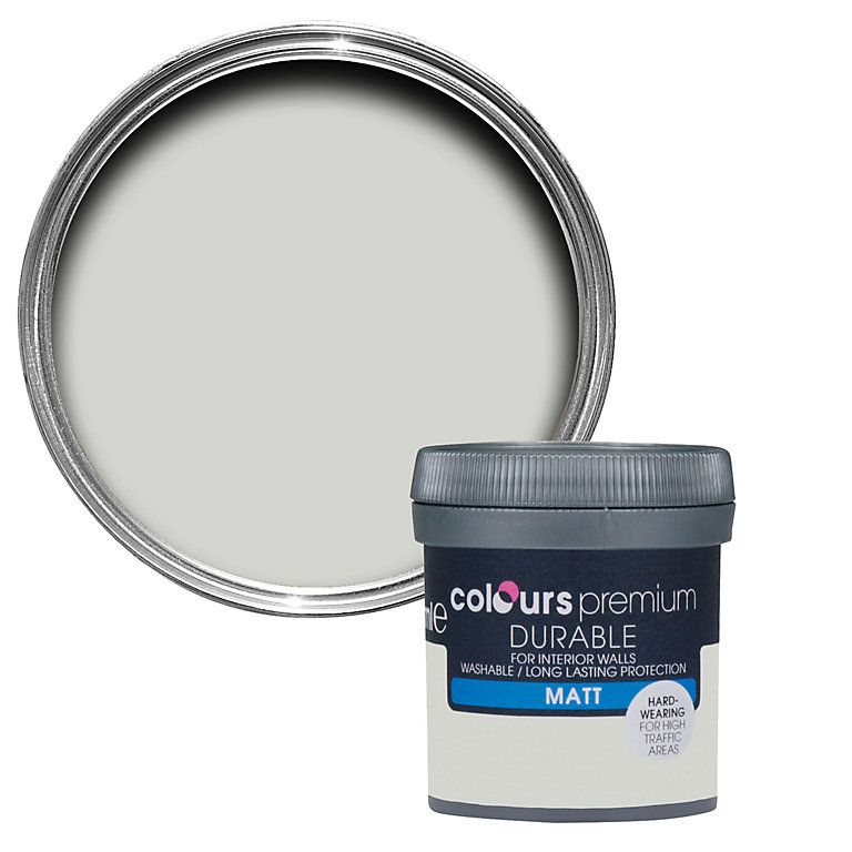 Colours Durable Grey Hints Matt Emulsion Paint 0 05l Tester Pot Diy At B Q Soft Sheen Colours Bathroom Colors