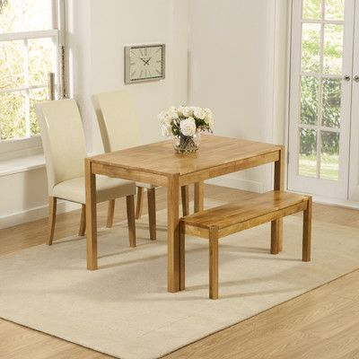 Muoi Dining Set With 2 Chairs And 1 Bench Solid Oak Dining Table
