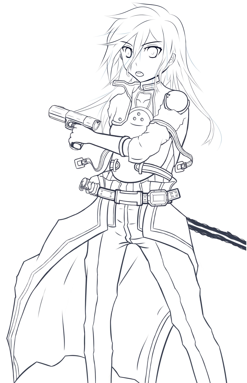 Line Art Gun : Line art ggo kirito by kayuu kun lineart sword