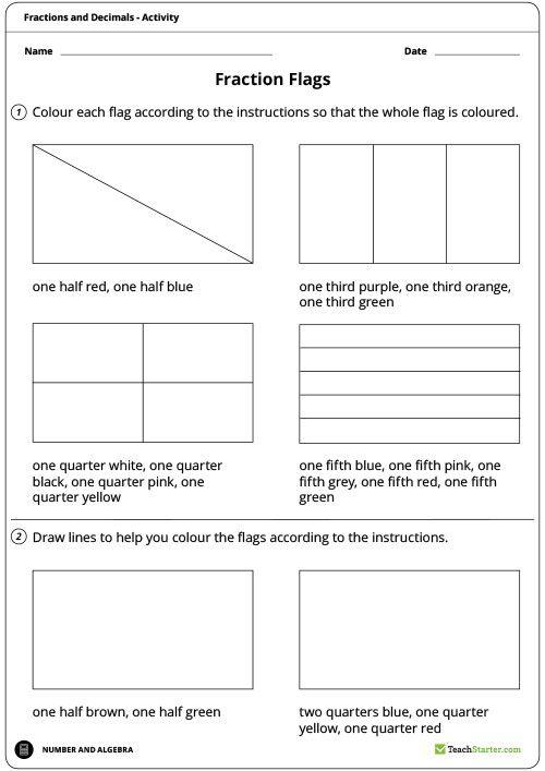 fraction flags worksheet teaching resource maths year 3 4 fractions decimals pinterest. Black Bedroom Furniture Sets. Home Design Ideas