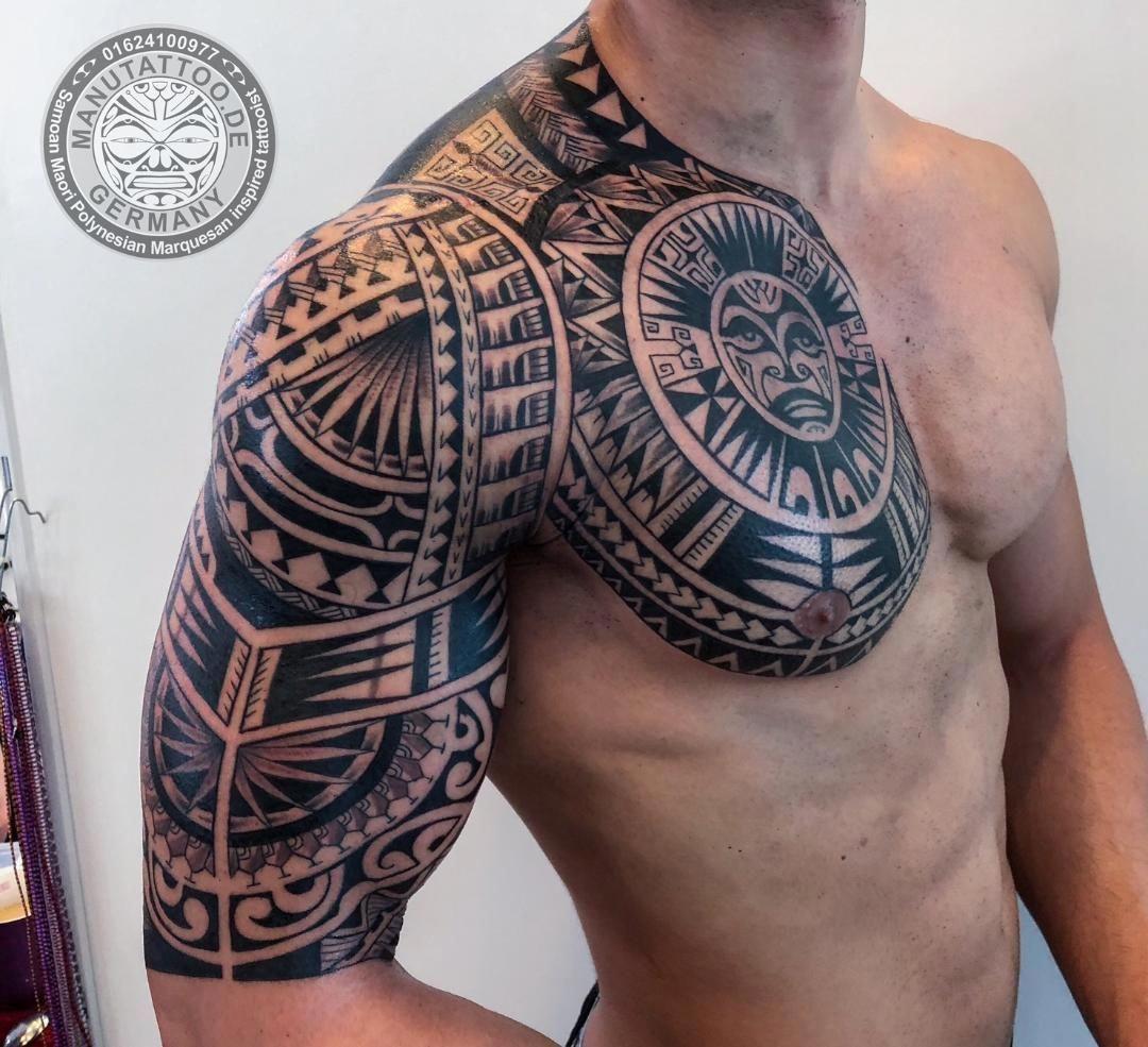 Polynesian Chest And Arm Sleeve Polynesiantattooarm Marquesantattoos Samoantattoos Ide Tato Tato Seni Tato
