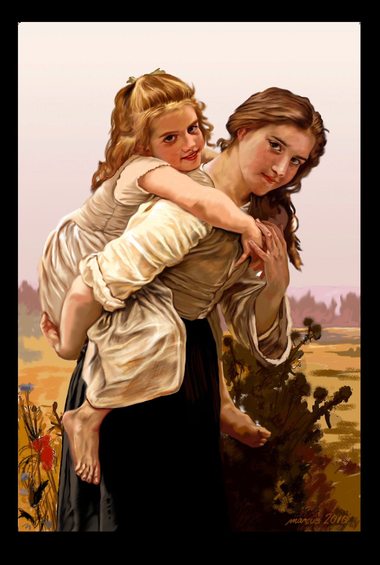 "Pintura digital de la obra de  William-Adolphe Bouguereau ""No demasiado para llevar"""