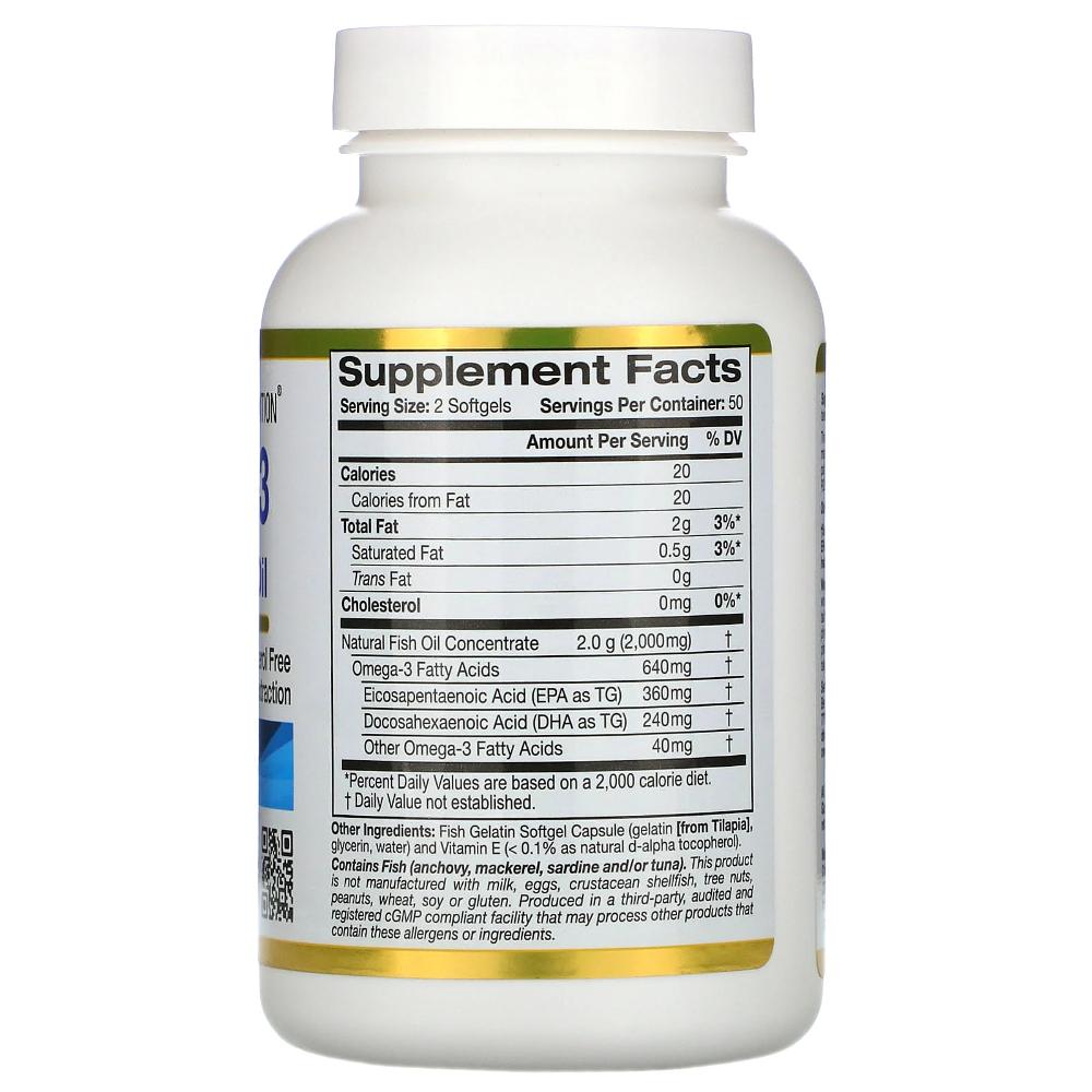 California Gold Nutrition Omega 3 Premium Fish Oil 100 Fish Gelatin Softgels Fish Oil Natural Fish Oil Oils