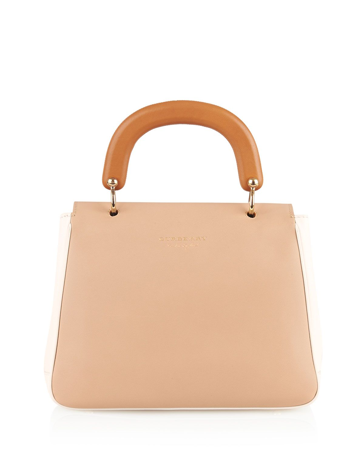 f7cce6783ff Burberry Trench Large Colorblock Leather Top-Handle Satchel Bag, Ivory