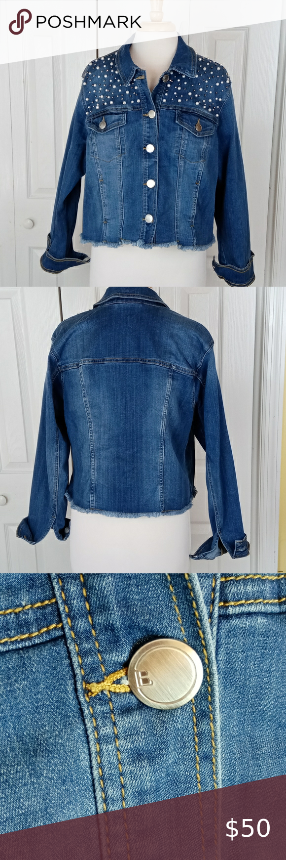 Lane Bryant Denim Jacket With Pearl Studs Denim Jacket Jackets Lane Bryant [ 1740 x 580 Pixel ]