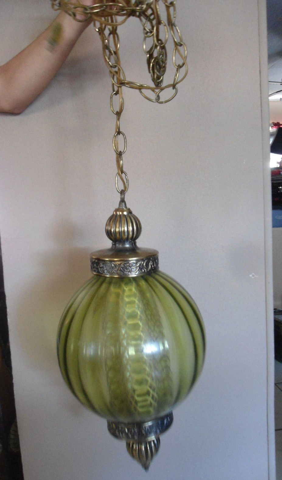 Large Green Globe Swag Lamp Vintage Round Rippled Glass Brass Hanging Light Swag Lamp Hanging Lights Antique Floor Lamps
