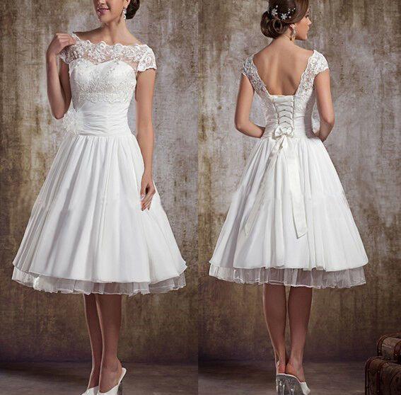 NEU WEISS/ELFENBEIN KURZ Puffy Hochzeitskleid/Kleid Lager ...
