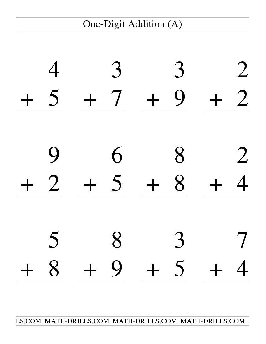 Single Digit Addition -- Some Regrouping -- 12 per page ...