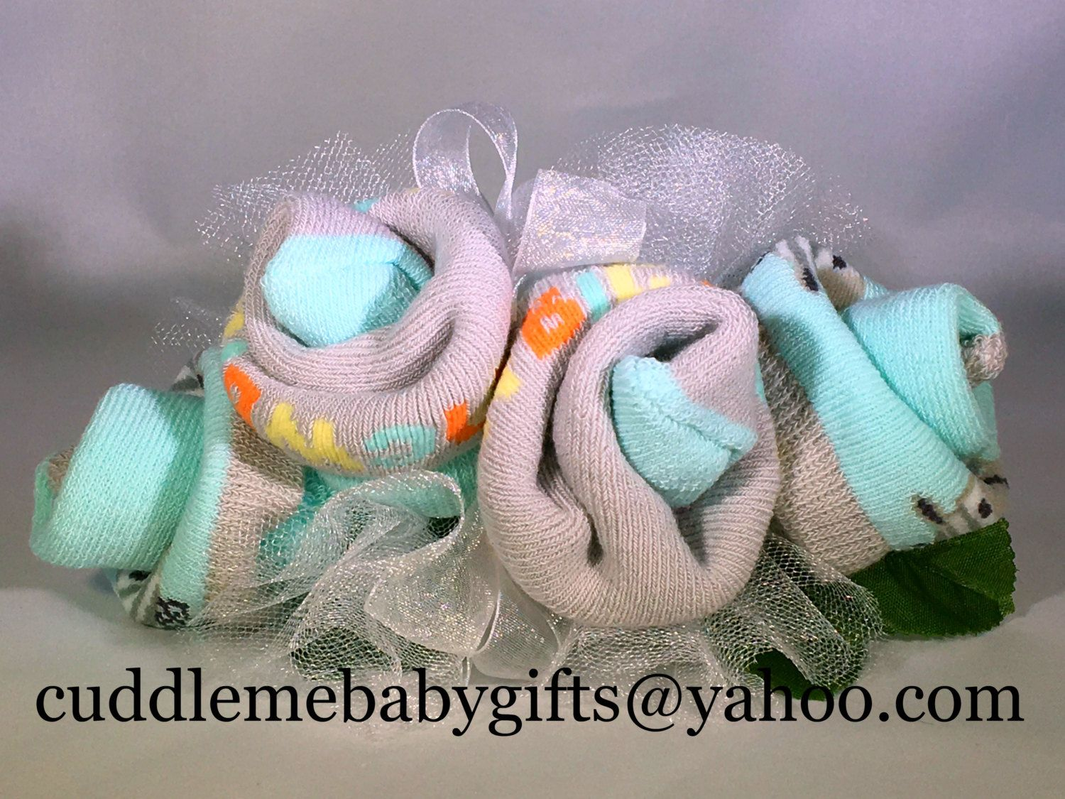 Turquoise Grey 2 Pair Of Baby Socks Baby Shower Corsage By