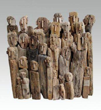 BOURLIER Marc Les artistes / Sculpture de bois flotté et ficelle de ...