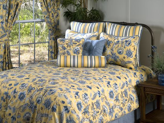 Cherborg Grand Suite Bedding Set Yellow Comforter Blue And
