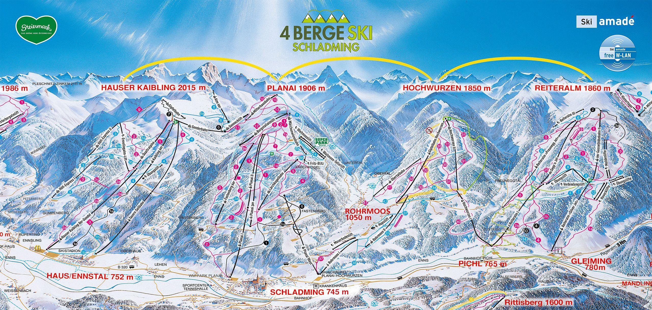 Bergfex Pistenplan Hauser Kaibling Schladming Ski Amade
