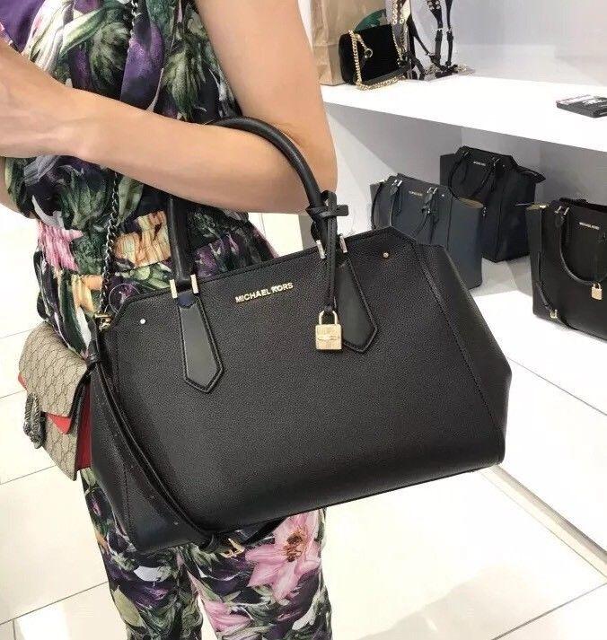 3945cb4fba18 NWT Michael Kors Hayes Large Leather Satchel Tote Bag Black ...