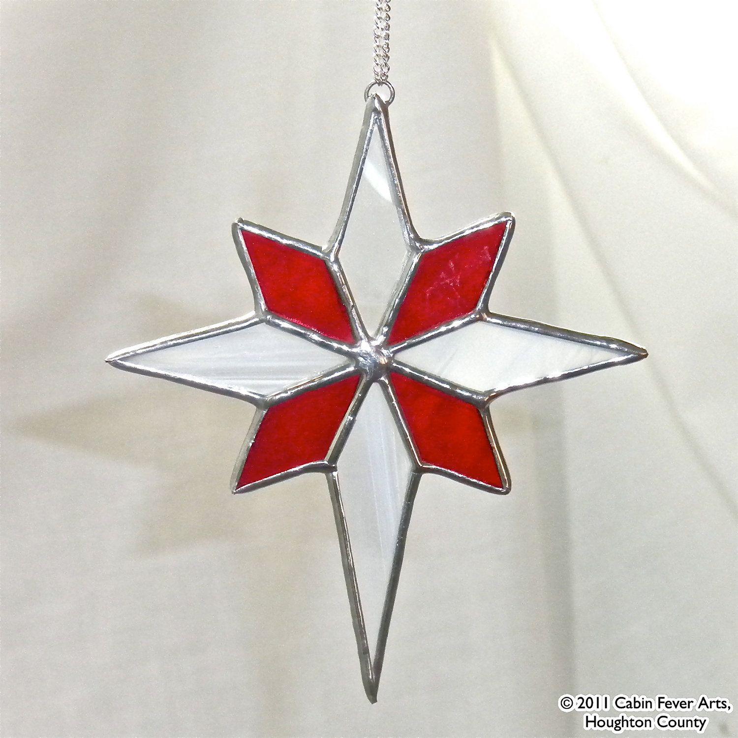 Stained Glass Christmas Ornament Patterns.Red Star In Stained Glass Christmas Tree Ornament Gift
