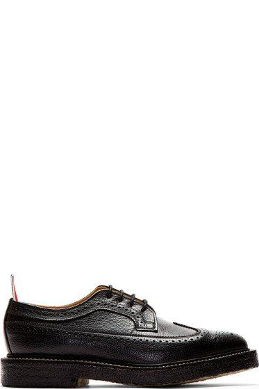 Black pebbled leather longwing brouges - THOM BROWNE