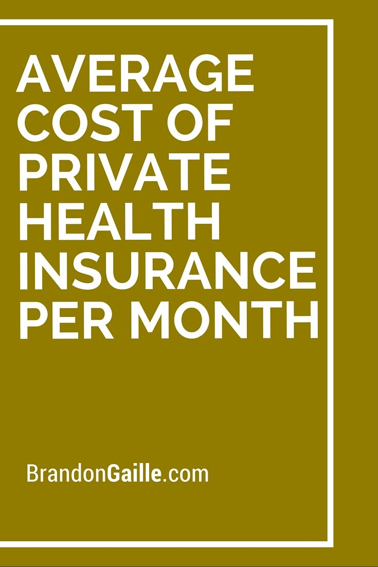 Average Cost of Private Health Insurance Per Month ...