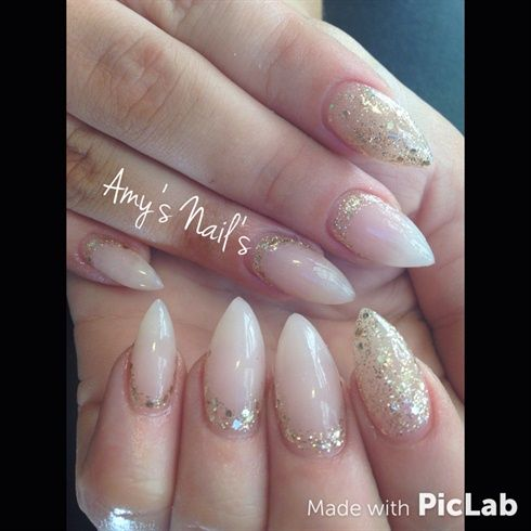 Natural Stiletto gels With Gold Glitter! by amysnails14 - Nail Art ...