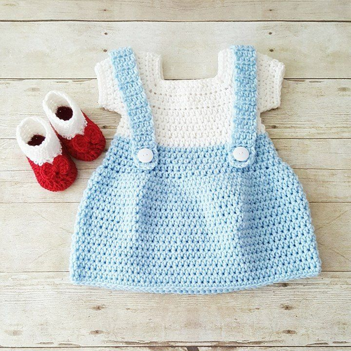 Crochet Baby Dorothy Wizard of Oz Dress Set Ruby Red Slippers Shoes ...