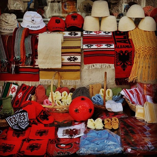 Albania's national colour is red symbolising those fallen in war. The double headed Eagle was first used during the 15th century by a powerful Albanian family ruling Northern Albania
