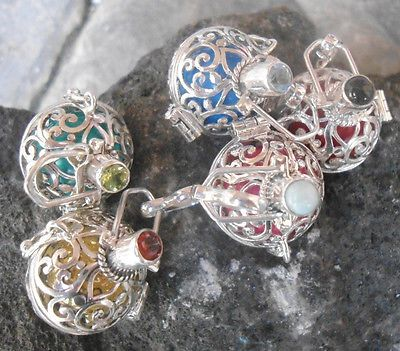 5x-925-Sterling-Silver-Harmony-Ball-Chime-Pendant-Locket-With-Mix-Gems