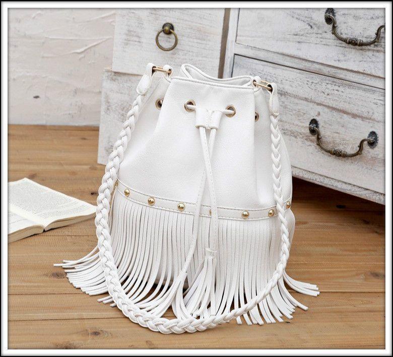 WHITE boho FRINGE BUCKET BAG handbag TASSEL hobo CROSSBODY ...