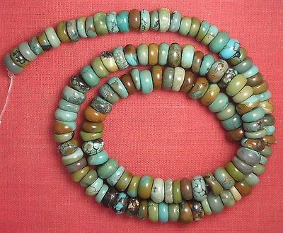 "Real Turquoise 8 mm Diameter Rough Cut Rondelle Beads 16"" Strand Lot # 95"